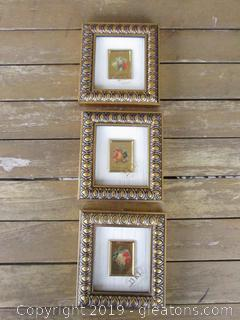 Lot of 3 Miniature Framed 23 Kt Gold Left Reproduction of an original work of Art Made in Italy Frutti di Stagione