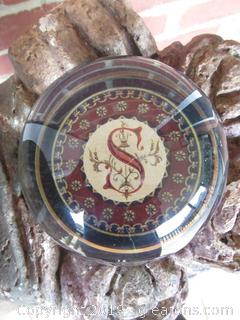 "Punch Studio Crystal Paperweight Letter ""S"" made in France"