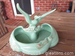 Vintage Regal Flying Mallard Duck Planter  Matte Green with Accent of Gold Made in USA