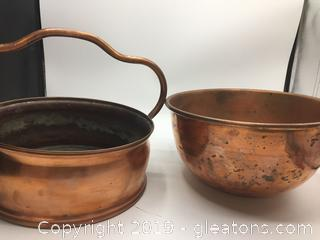 Vintage Copper Hanging Pot and Mixing Bowl
