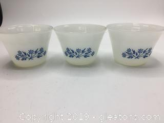 Fire King Cornish Blue Set of 3 Cups