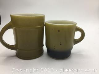 Fire King Anchor Hocking Green and Bicolor Green Brown Mug
