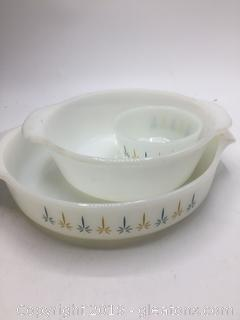 "Fire King ""Candle Glow"" Baking Dish & ""Milk White"" Cassarole Dish"