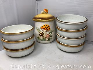 7 Milkasa Soup Bowls 1 Mushroom Canister/ Sears Rabuck