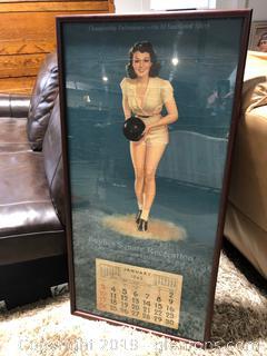 Vintage 1943 Bowling Calendar Poster