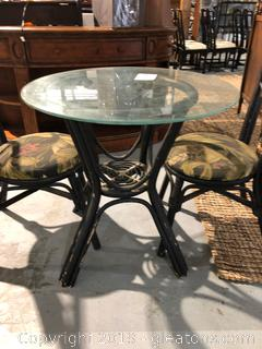 Rattan Bistro Dining Table and Chairs