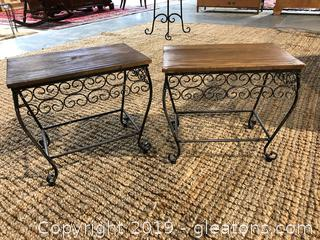 Small Metal Wood Table (Pair)