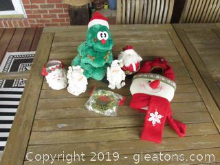 Lot of Santa's, Tree (Does not work)  & Snowman, also Foil Garland