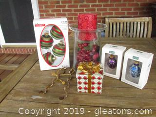 Candle Holder, Ornaments, and a Resin Present Figurine