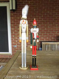 2 Tall Nutcrackers 23 inches tall for the White,Silver & Gold One / 20 inches tall for the Green & Red One