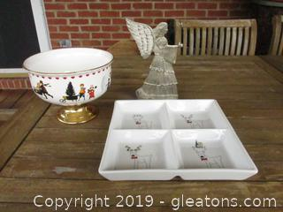 Serving Bowl Teleflora Wysocki Christmas Love 2000 / Serving Plate BIA  and Metal Angel Figurine holds a Candle