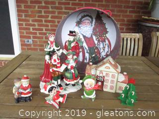 Christmas Figurine Lot with Christmas Gift Box See All Photos 2 minor Issues