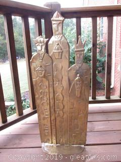 Thin Metal Gold Tone of 3 Wise Men / Can Hang of Sits on Stand 32 Inches tall and 12 inches Wide