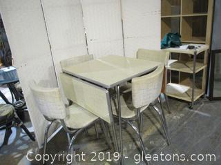 RETRO Formica Drop Table with Aluminum Legs & 4 Chairs in GREAT CONDITION