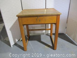 Vintage Wood Flip-Top School Desk