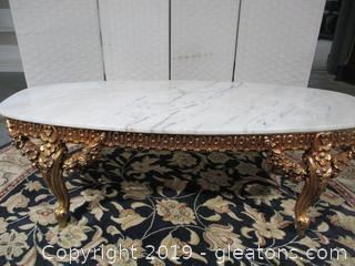 Carved Gold Gilded Marble Cocktail Table
