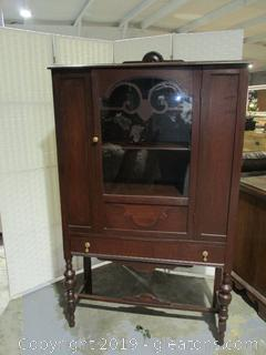 Vintage Cabinet W/Shelves on Legs W/Glass Door & 1 Drawer