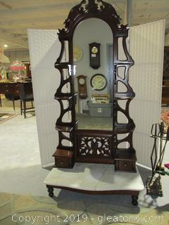 Vintage Victorian Foyer Marble Footed Standing Mirror W/Shelving
