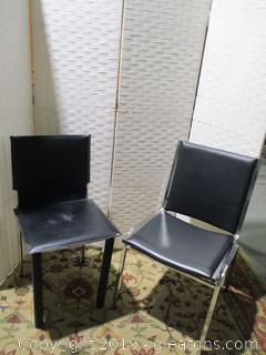 2 Vintage Matte Black Metal Framed Chairs