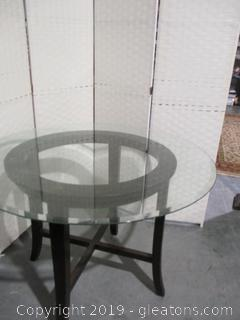 Round Glass Top Table W/Wood Base