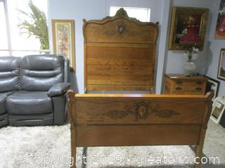Antique Reproduction Solid Oak Queen size Bed