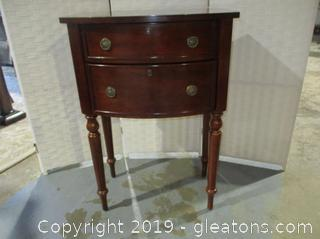 2 Drawer Side Table on Legs Cherry