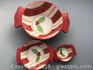 Christmas Northpole Holiday Peppermint Bowl Set