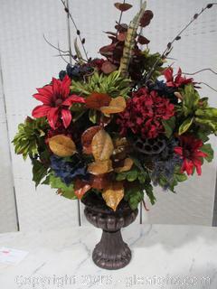 Large Silk Arrangement in Footed Vase