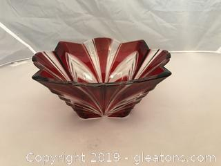 Crystal and Ruby red Aurora Bowl