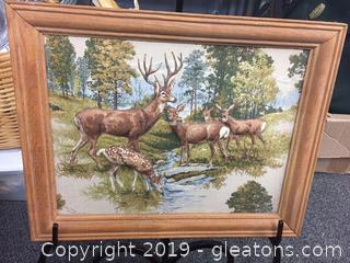 Handmade Fabric Painting of Deer