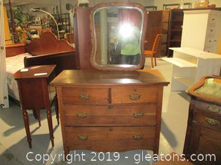 Antique 4 Drawer Dresser with Wall Mirror