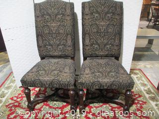 2 Oversized Modern French Upholstered Victorian Chairs