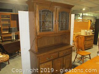 2 Piece China Cabinet W/Leaded Glass Doors