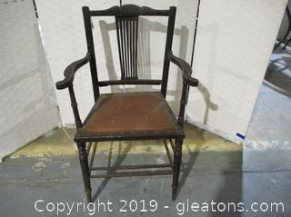 Vintage Antique Wooden Chair W/Leather