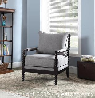 Brand New Transitional Grey and Cappuccino Accent Chair NO RESERVE