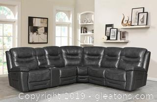 Brand New Top Grain Leather Power Sectional Sofa B NO RESERVE