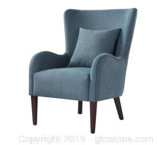 Brand New Dark Teal Winged Accent Chair B NO RESERVE