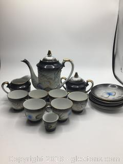 Hand Painted Vintage Japanese Tea Set