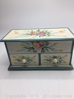Antique Hand Painted Jewelry Box