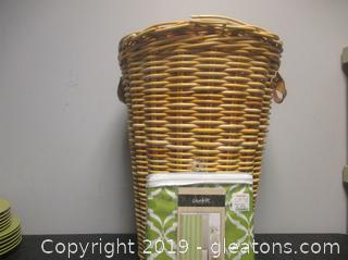 Woven Laundry Basket W/Lid New Shower Curtain by Colordrift