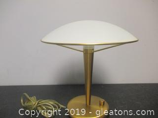 Small Modern Brass Lamp W/Glass Domed Globe