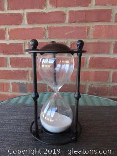 Half Hour Sand Timer / Metal & Glass / 9 1/2 inches tall and 5 1/4 in Diameter