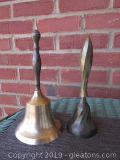2 Brass Hand Bells