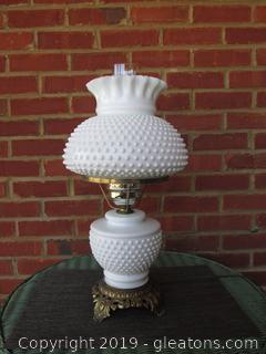 Milk Glass Hobnail 3 way Light / First Click Bottom Lights Up / Second Click Top Lights Up and Bottom Goes Off / Third Click Bottom and Top Light Up / Fourth Click Everything Goes Off