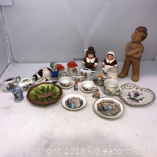 Lot of Figurine and Tea Set Mini Plates