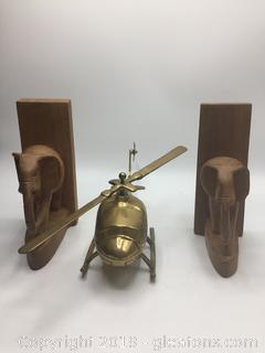 Wooden Carved Bookends and Solid Brass Helicopter