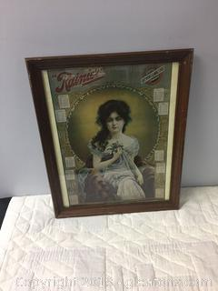 """Rainier"" 1970's Retro AD in Wooden Frame"