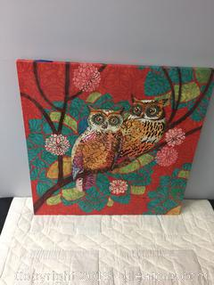 """2 Owls"" Canvas Wall Art"