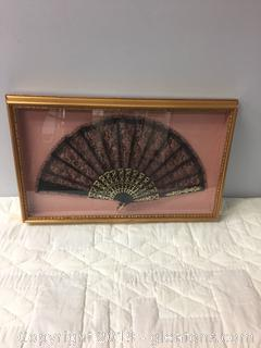 Framed Japanese Fan in Shadow Box