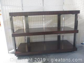 Modern Wood Metal + Glass 3 Shelf Table/Bar